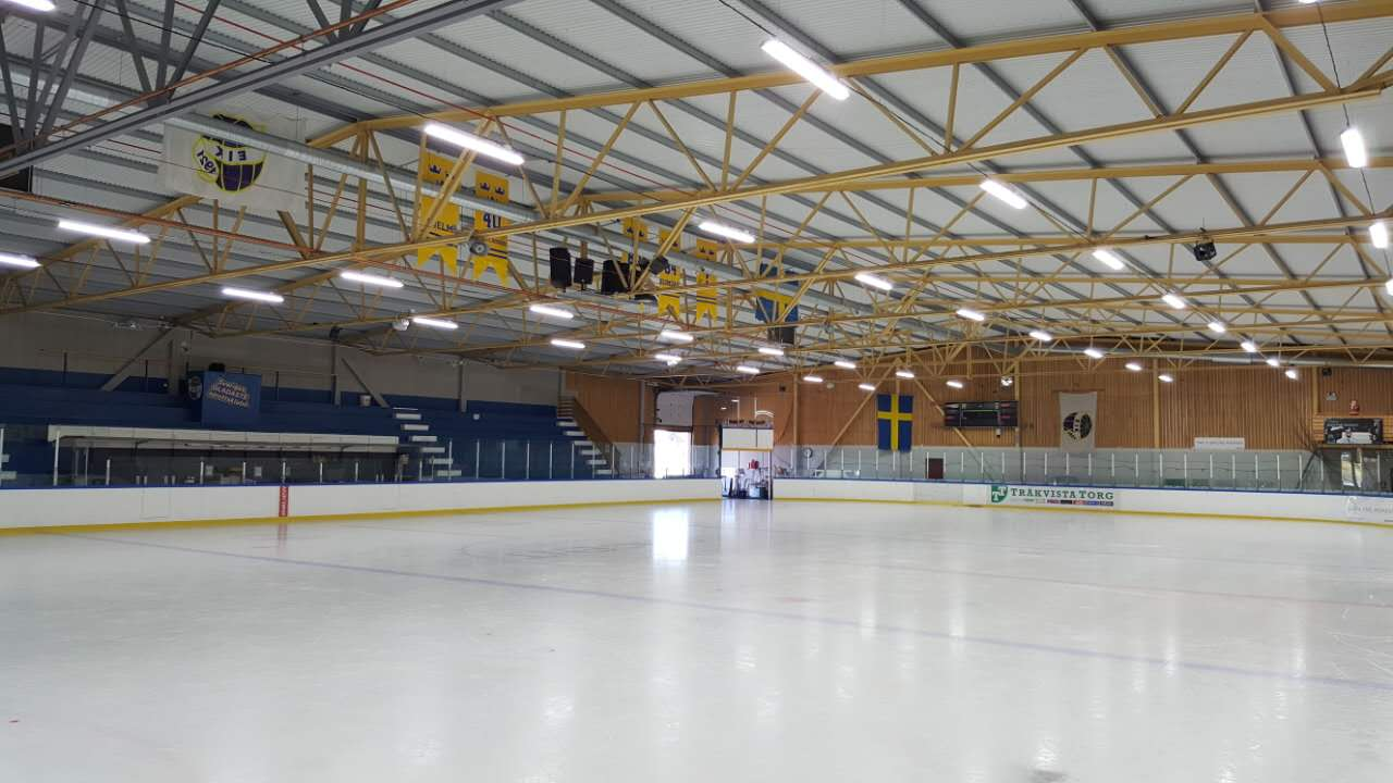 linear led high bay application project in Sweden for Hockey field