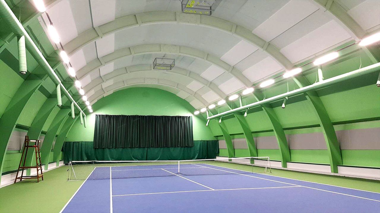 led linear high bay install in tennis court