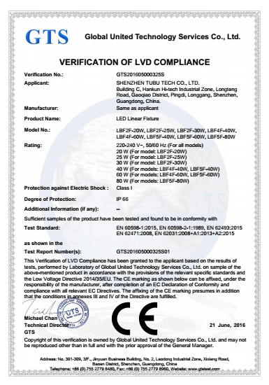 lvd certification for led tri-proof light