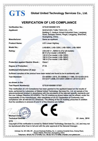 lvd certification for led linear high bay g3