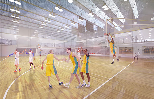 glare free round led high bay application for sport court