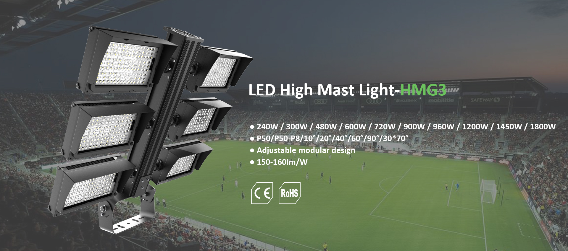 tubu led high mast area light for the football field